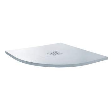 Drench Ultra Thin White Stone Quadrant Shower Tray - 900 x 900mm