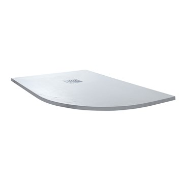 Drench Ultra Thin White Stone Offset Quadrant Shower Tray - Left Hand 1200 x 900mm