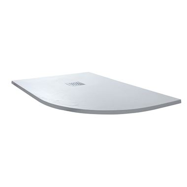 Drench Ultra Thin White Stone Offset Quadrant Shower Tray - Right Hand 1200 x 800mm