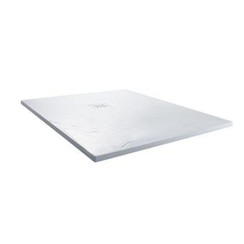 Drench Ultra Thin White Stone Square Shower Tray - 900 x 900mm