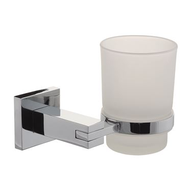 Poplar Frosted Glass Tumbler & Holder