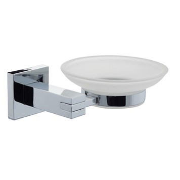 Poplar Frosted Glass Soap Dish & Holder