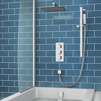 Cava Square Concealed Shower Valve with Fixed Shower Head, Slide Rail Kit & Overflow Bath Filler