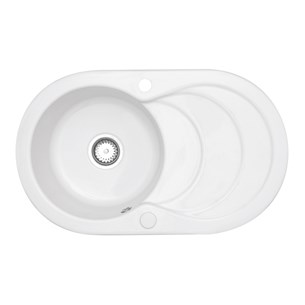 Astracast Cascade Ceramic 1 Bowl Sink With Chrome Waste & Overflow - White
