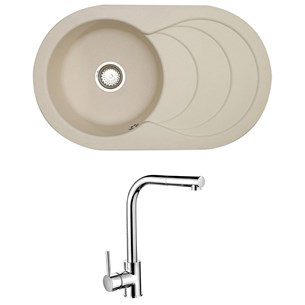 Astracast Cascade 1 Bowl Pale Cashmere Composite Sink & Waste Kit and Vellamo Savu Mono Pull Out Kitchen Tap