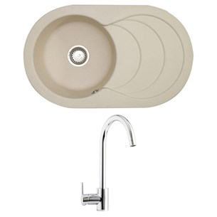 Astracast Cascade 1 Bowl Pale Cashmere Composite Sink & Waste Kit and Astracast Elera Side Lever Mono Kitchen Mixer