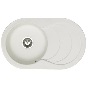 Astracast Cascade 1 Bowl White Composite Sink & Waste Kit with Reversible Drainer - 790 x 480mm