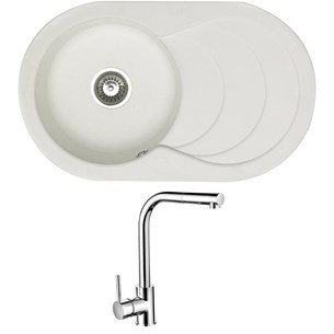 Astracast Cascade 1 Bowl White Composite Sink & Waste Kit and Vellamo Savu Mono Pull Out Kitchen Tap