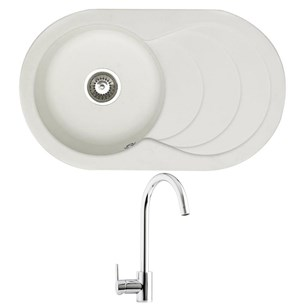 Astracast Cascade 1 Bowl White Composite Sink & Waste Kit and Astracast Elera Side Lever Mono Kitchen Mixer
