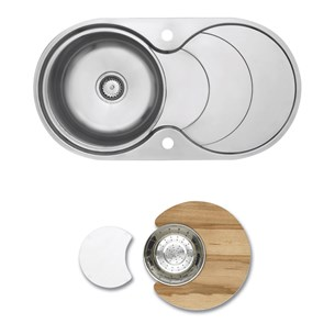 Astracast Cascade 1 Bowl Feature Sink Pack With Chrome Waste, Overflow, Glass & Wooden Chopping Boards & Colander - Polished Stainless Steel