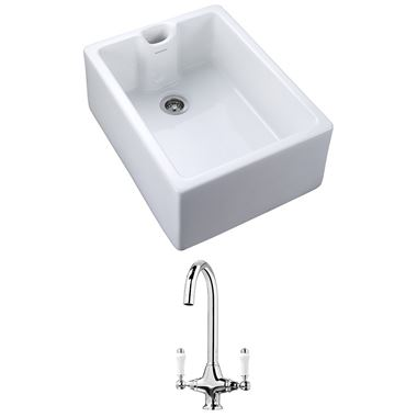 Rangemaster Classic Belfast 1 Bowl White Fire Clay Ceramic Sink and Vellamo Victoria Traditional Mono Kitchen Mixer Tap