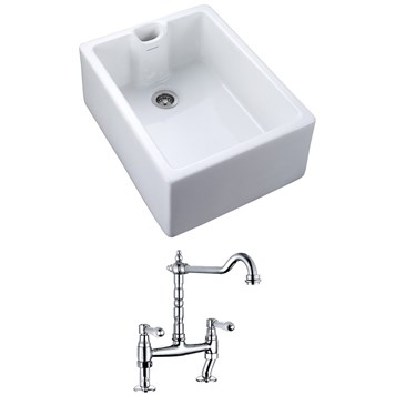 Rangemaster Classic Belfast 1 Bowl White Fire Clay Ceramic Sink and Vellamo Carlton Traditional Kitchen Bridge Mixer - Lever Handles