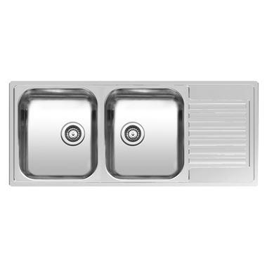 Reginox Centurio Double Bowl Stainless Steel Kitchen Sink with Drainer & Waste - Reversible