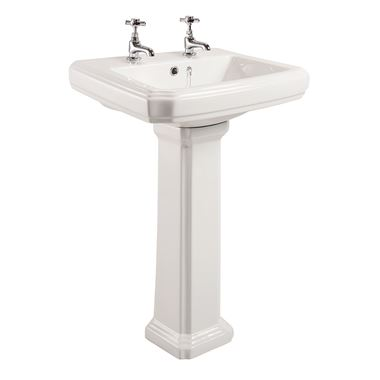 Chartley Traditional 2 Tap Hole Basin & Full Pedestal