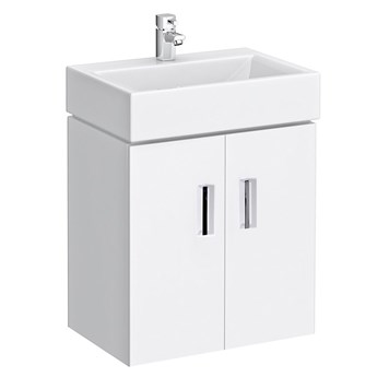 Premier Checkers Wall Mounted White Gloss 450mm Vanity Unit & Basin