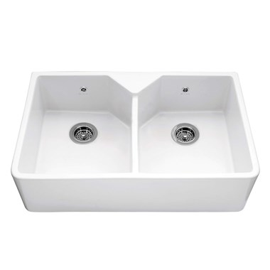 Caple Chepstow Double Bowl White Ceramic Belfast Kitchen Sink - 800 x 490mm