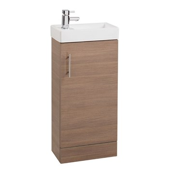 Compact 400mm Cloakroom Vanity Unit With Basin - Medium Oak