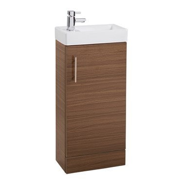 Compact 400mm Cloakroom Vanity Unit and Basin - Walnut