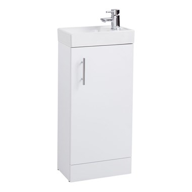 Compact 400mm Cloakroom Vanity Unit With Basin - Gloss White