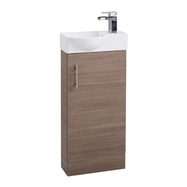 Compact 400mm Cloakroom Vanity Unit and Basin - Medium Oak