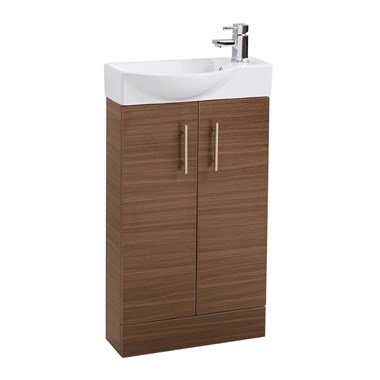 Compact 500mm Double Door Cloakroom Vanity Unit and Basin - Walnut