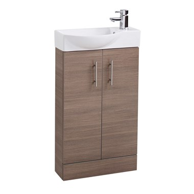 Compact 500mm Cloakroom Vanity Unit and Basin - Medium Oak
