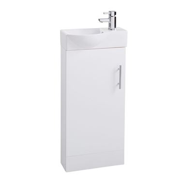 Compact 400mm Cloakroom Vanity Unit and Basin - White