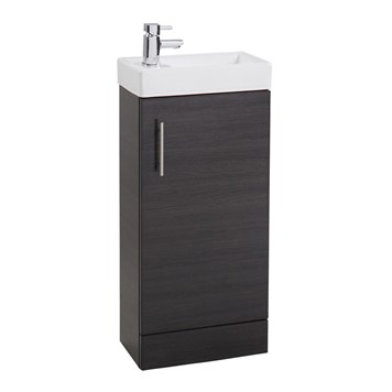 Compact 400mm Vanity Unit and Basin - Black Ash