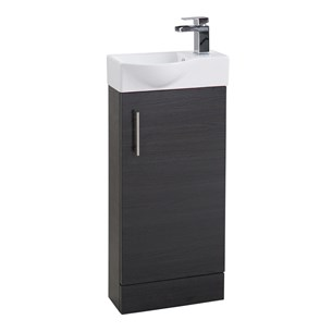 Compact 400mm Cloakroom Vanity Unit and Basin - Black Ash