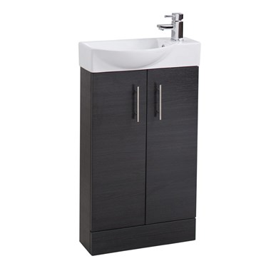 Compact 500mm Cloakroom Vanity Unit and Basin - Black Ash