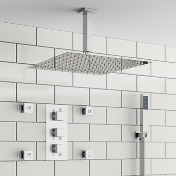 Chiva Square Concealed Shower Valve with Fixed Shower Head, Handset & Body Jets