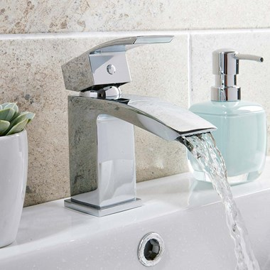 Vellamo City Waterfall Small Basin Mixer with Clicker Waste