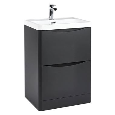 Harbour Clarity 600mm Floorstanding Vanity Unit & Basin - Anthracite Grey