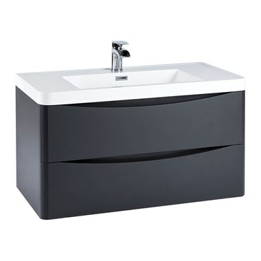 Harbour Clarity 900mm Wall Hung Vanity Unit & Basin - Anthracite Grey