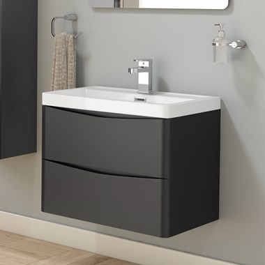 Harbour Clarity 600mm Wall Hung Vanity Unit & Basin - Graphite Grey