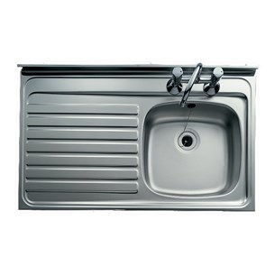 Clearwater Contract Lay On Single Bowl Stainless Steel Sink With 2 Tap Holes Roll Front 1000 X 500mm