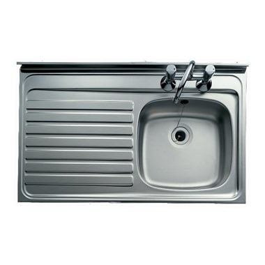 Clearwater Contract Lay-On 1000 x 500mm 1 Bowl Sink (Roll Front) & Left Hand Drainer - 2 Tap Holes