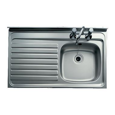 Clearwater Contract Lay-On 1000 x 600mm 1 Bowl Sink (Square Front) & Left Hand Drainer - 2 Tap Holes