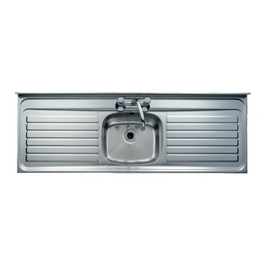 Clearwater Contract Lay-On Single Bowl Stainless Steel Sink (Square Front) & Double Drainer - 2 Tap Holes