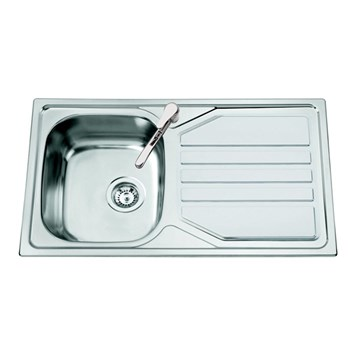 Clearwater Okio Single Bowl Satin Finish Sink - & Drainer - Reversible