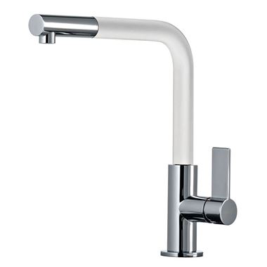 Clearwater Auriga Single Lever Mono Kitchen Tap With Pull Out Aerator - Chrome/White