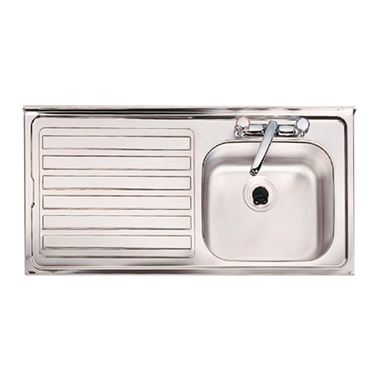 Clearwater Contract Topmount 0.9mm Gauge 1 Bowl Stainless Steel Sink & Left Hand Drainer - 2 Tap Holes