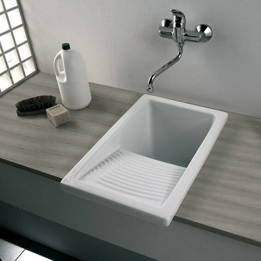 Small White Ceramic Laundry Sink