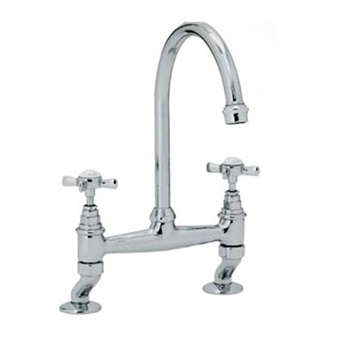Clearwater Cottage Twin Crosshead Bridge Sink Mixer with Swivel Spout - Antique Bronze