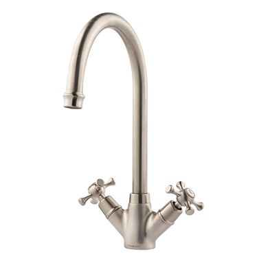 Clearwater Cottage Twin Crosshead Mono Sink Mixer with Swivel Spout - Brushed Nickel
