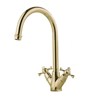 Clearwater Cottage Twin Crosshead Mono Sink Mixer with Swivel Spout - English Gold