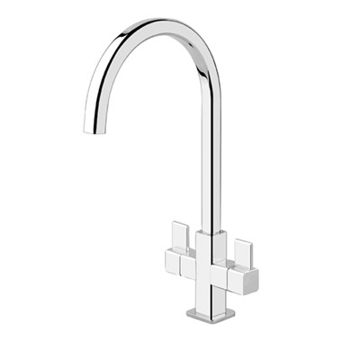 Clearwater Cherika Twin Lever Mono Kitchen Mixer - Chrome