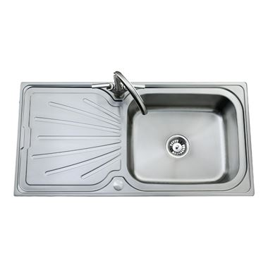 Clearwater Deep Blue Single Bowl 1000mm Sink with Waste - Reversible - Brushed Steel