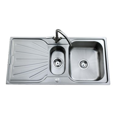 Clearwater Deep Blue 1.5 Bowl Brushed Stainless Steel Sink - Reversible