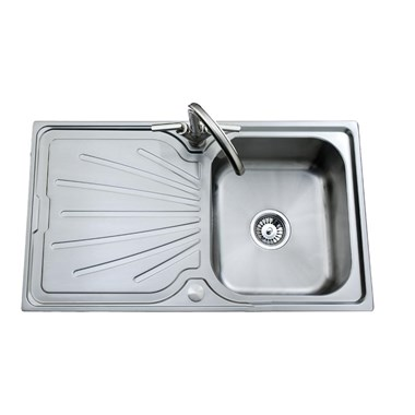 Clearwater Deep Blue Single Bowl 800mm Brushed Stainless Steel Sink - Reversible